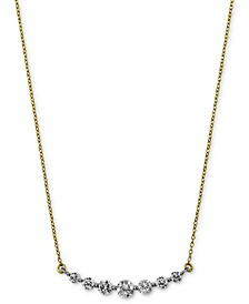 "Diamond Graduated Bar Statement Necklace (1 ct. t.w.) in 14k Gold & White Gold, 16"" + 2"" extender"
