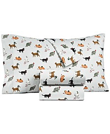 Printed Cotton Flannel 4-Pc. Full Sheet Set, Created for Macy's
