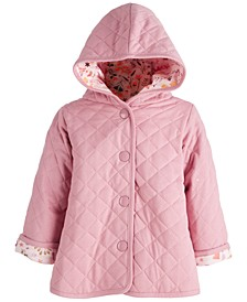 Baby Girls Quilted Fox Floral Jacket, Created for Macy's