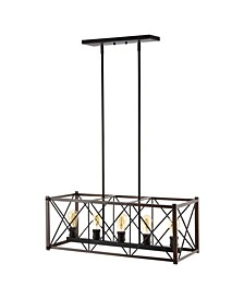 Galax 5-Light Adjustable Farmhouse Industrial LED Dimmable Pendant