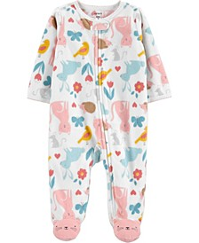 Baby Girl  Animals 2-Way Zip Fleece Sleep & Play