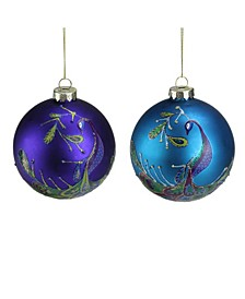Count Regal Peacock and Glass Christmas Ball Ornaments
