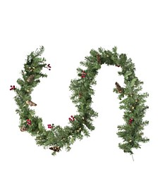 Pre-Lit Noble Fir with Berries Artificial Christmas Garland-Clear Lights