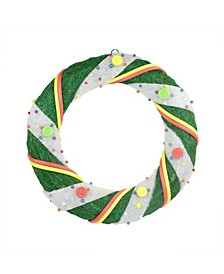 Pre-Lit and Candy Striped Sisal Artificial Christmas Wreath-Clear Lights