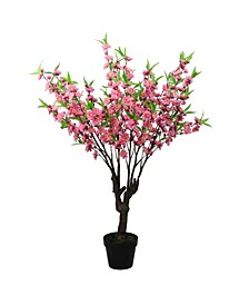 Potted and Floral Peach Blossom Artificial Christmas Tree-Unlit