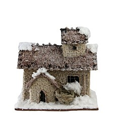 and Beige Two Story Snowy Cabin Christmas Table top Decor