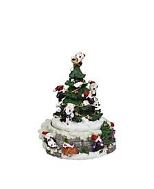 Animated Penguin and Christmas Tree Winter Scene Rotating Musical Christmas Decoration