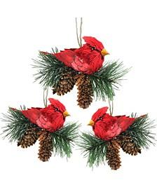 Cardinal Birds On Pine Cone Nest Christmas Ornaments 5, Set of 3