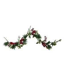 Holly and Pine Springs Artificial Christmas Garland-Unlit