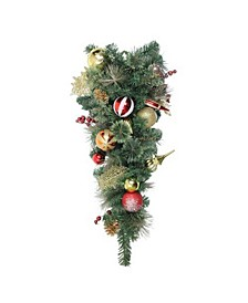 "30"" Foliage with Pinecones and Berries Embellished Artificial Christmas Teardrop Swag-Unlit"