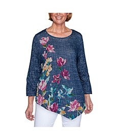 Women's Plus Size Textured Asymmetric Flowers Top