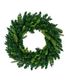 Pre-Lit Gunnison Pine Artificial Christmas Wreath-Clear Lights