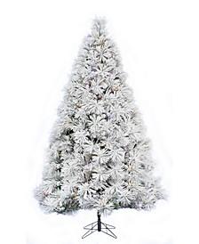 7.5' Prelit Atka Pine Flocked Christmas Tree with 650 LED Lights