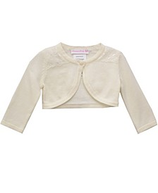Baby Girls Ivory Flyaway Cardigan With Lace Trim