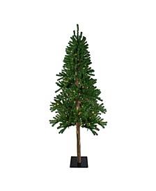 Pre-Lit Alpine Artificial Christmas Tree-Multi Lights