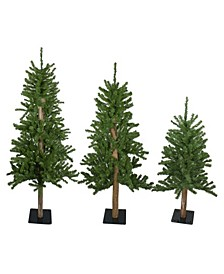 Unlit Alpine Artificial Christmas Trees