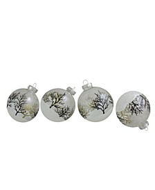 Count Clear and Frosted Winter Tree Glass Christmas Ball Ornaments