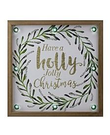 """Lighted """"Holly Jolly"""" with A Wreath Wood Christmas Plaque"""