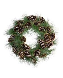 Long Needle Pine and Pine Cone Artificial Christmas Wreath-Unlit