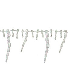 Unlit Clear Iridescent Icicle Beaded Artificial Christmas Garland