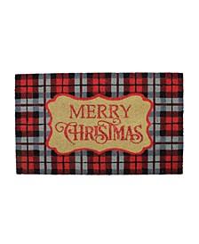 "Plaid ""Merry Christmas"" Doormat"
