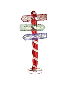 Pre-Lit LED Christmas Outdoor Folding Road Sign