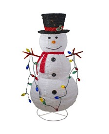 Lighted 3D Chenille Winter Snowman with Top Hat Outdoor Christmas Decoration