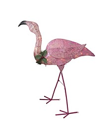 Pink Glittered Flamingo with Holly and Berry Outdoor Yard Decor