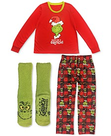 Matching Grinch 3pc Family Pajama Set Collection (Available in Women, Mens, Kids&Baby, Pet)