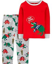 Toddler Boy 2-Piece Dinosaur Christmas Fleece PJs