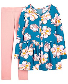 Big Girl  2-Piece Floral Poplin Top & Legging Set