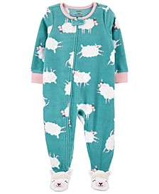 Toddler Girl 1-Piece Sheep Fleece Footie PJs