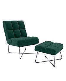 Gregor Modern Armless Chair and Ottoman Set