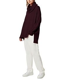 Cowl-Neck Step-Hem Sweater