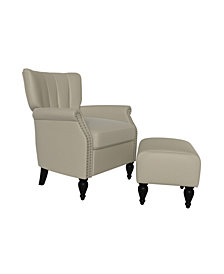 Handy Living Citybrook Channel Tufted Rolled Arm Chair and Ottoman Set