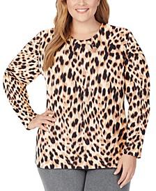 Plus Size Fleecewear With Stretch Crewneck Top
