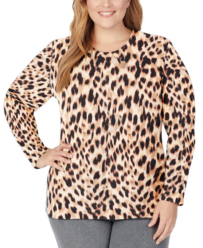 Cuddl Duds Plus Size Fleecewear With Stretch Crewneck Top