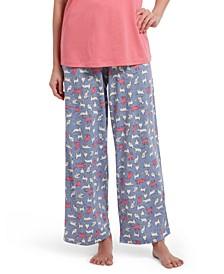 Cat-Print Classic Pajama Pants
