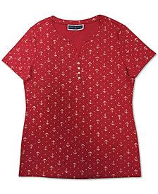 Karen Scott Plus Size Anchor-Print Henley Top, Created for Macy's