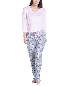 Solid Long-Sleeve T-Shirt & Printed Pants Pajama Set