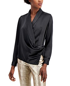 Draped Faux-Wrap Blouse, Created for Macy's