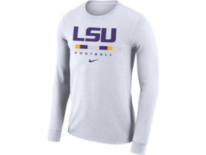Nike Lsu Tigers Men's Dri-Fit Cotton Icon Wordmark Long Sleeve T-Shirt