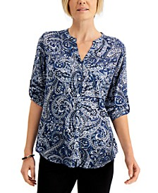 Printed Split-Neck Blouse, Created for Macy's