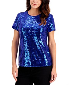 Sequined Short-Sleeve Blouse, Created for Macy's
