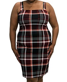 Trendy Plus Size Sleeveless Plaid Bodycon Dress