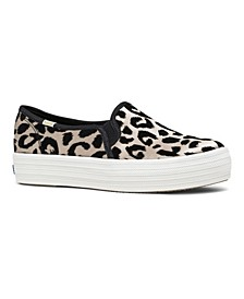 Women's Triple Decker KS Flocked Leopard Slip-on