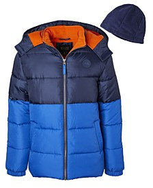 Big Boys Color block Puffer with Fleece Hat