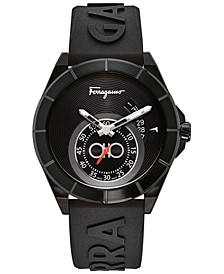 Men's Swiss Urban Black Silicone Strap Watch 43mm