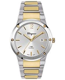 Men's Swiss F-80 Classic Two-Tone Stainless Steel Bracelet Watch 41mm