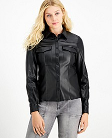 Amanda Faux-Leather Western Shirt